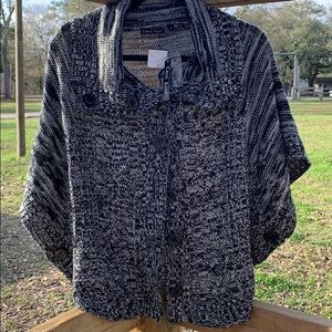 Black/White Button-Up Sweater